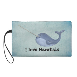 I love Narwhals Wristlet Purse