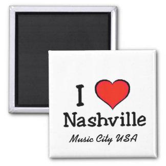 I Love Nashville 2 Inch Square Magnet