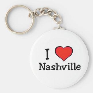 I Love Nashville Basic Round Button Keychain