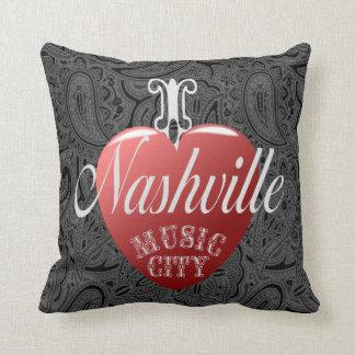 """I Love Nashville Black Paisley Pillow 16"""" x 16"""""""