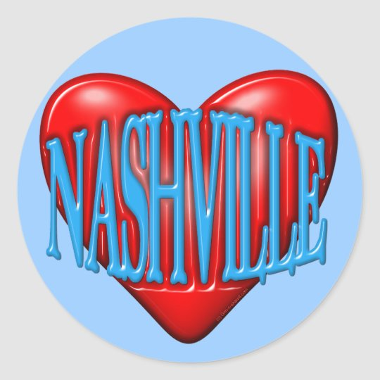 I Love Nashville Classic Round Sticker