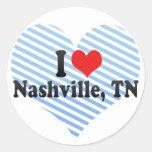 I Love Nashville, TN Round Stickers