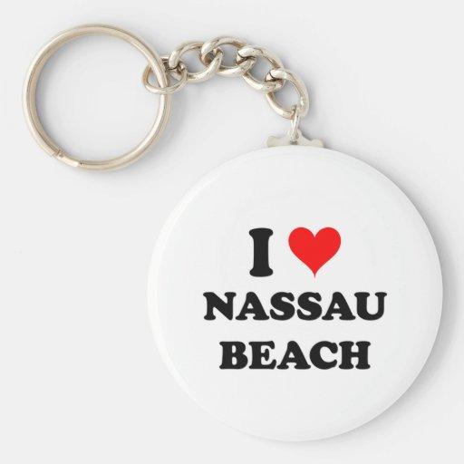 I Love Nassau Beach New York Key Chains