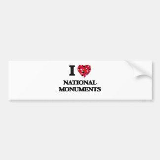 I Love National Monuments Car Bumper Sticker