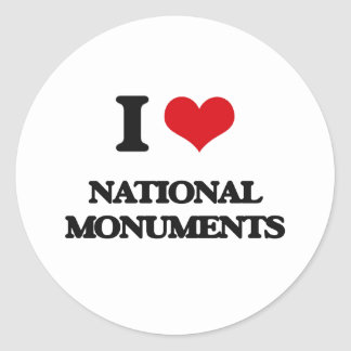 I Love National Monuments Classic Round Sticker