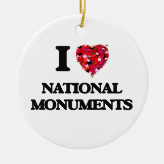 I Love National Monuments Double-Sided Ceramic Round Christmas Ornament