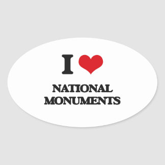 I Love National Monuments Oval Sticker