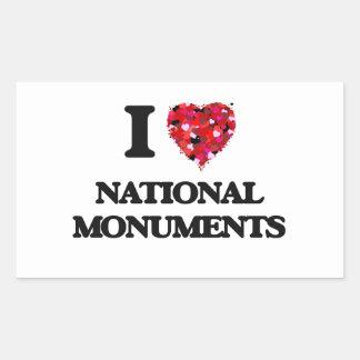 I Love National Monuments Rectangular Sticker