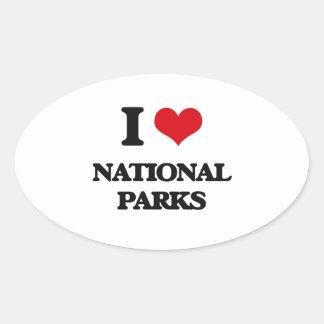 I Love National Parks Oval Sticker