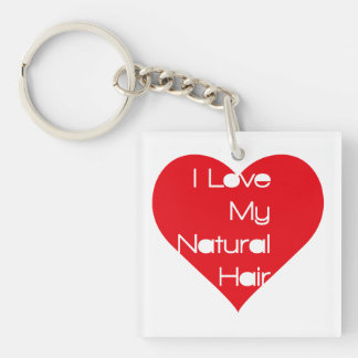 I love Natural Hair Single-Sided Square Acrylic Keychain