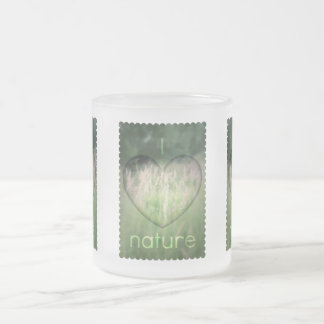 I Love Nature Grass Heart Frosted Glass Coffee Mug