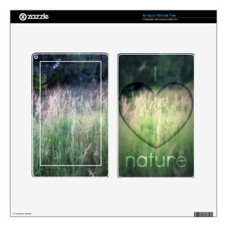 I Love Nature Green Grass Heart Kindle Fire Decal