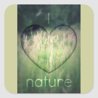 I Love Nature Green Grass Heart Square Sticker