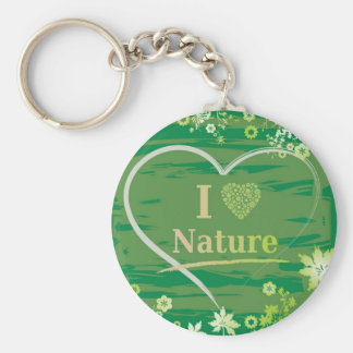 I Love Nature Heart Text and Flowers - Green Keychain