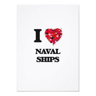 I Love Naval Ships 5x7 Paper Invitation Card