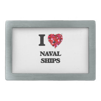I Love Naval Ships Rectangular Belt Buckles