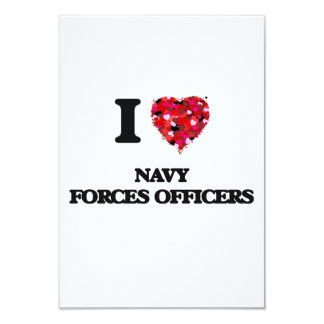 I love Navy Forces Officers 3.5x5 Paper Invitation Card