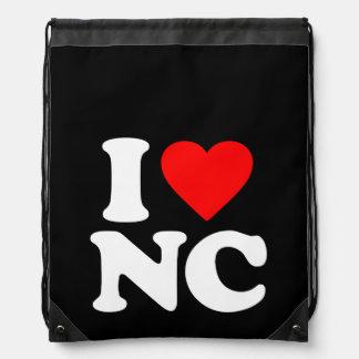 I LOVE NC DRAWSTRING BAGS
