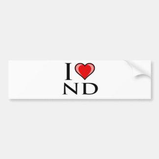 I Love ND - North Dakota Bumper Sticker