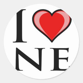 I Love NE - Nebraska Classic Round Sticker