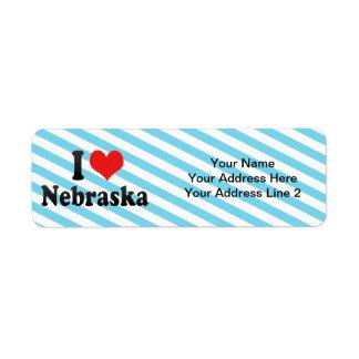I Love  Nebraska Custom Return Address Labels