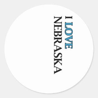 I Love Nebraska Design Classic Round Sticker