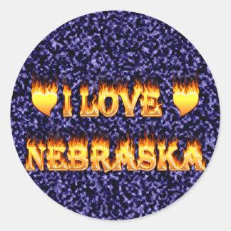 I love nebraska fire and flames round stickers