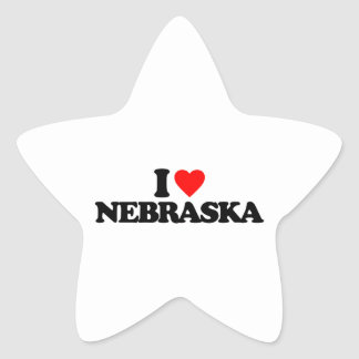 I LOVE NEBRASKA STAR STICKER
