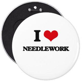 I Love Needlework 6 Inch Round Button