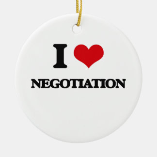 I Love Negotiation Double-Sided Ceramic Round Christmas Ornament