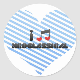 I Love Neoclassical Round Stickers
