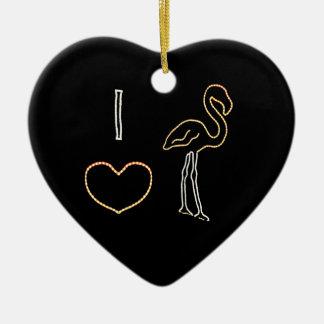 I Love Neon Flamingos Ornament