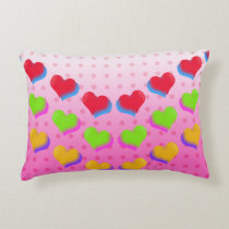 I Love Neon Hearts pattern Accent Pillow