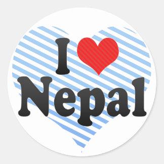 I Love Nepal Classic Round Sticker