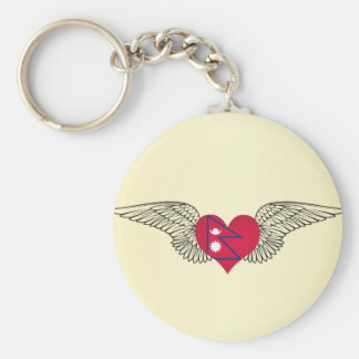 I Love Nepal -wings Keychain