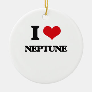 I Love Neptune Double-Sided Ceramic Round Christmas Ornament