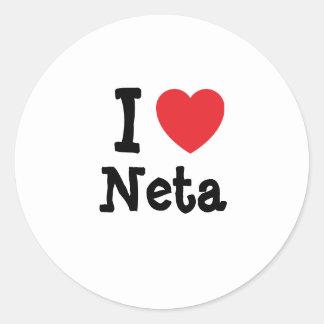 I love Neta heart T-Shirt Round Stickers