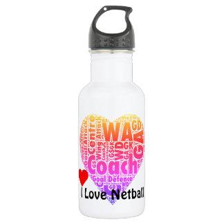 I Love Netball Coach Word Art Stainless Steel Water Bottle