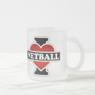 I Love Netball Frosted Glass Coffee Mug