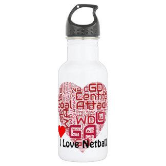 I Love Netball Goal Attack Word Art Stainless Steel Water Bottle