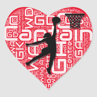 I Love Netball Heart Sticker