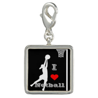 I Love Netball Picture Charm