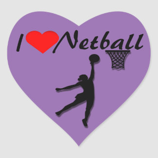 I Love Netball Picture Heart Sticker