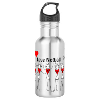 I Love Netball Positions Stick Figures Stainless Steel Water Bottle