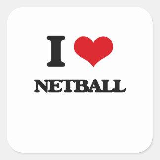 I Love Netball Square Sticker