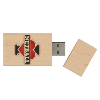 I Love Netball Wood USB Flash Drive