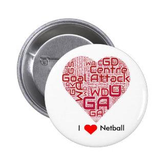 I Love Netball Word Art Design Button