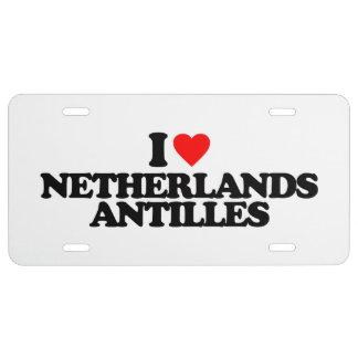 I LOVE NETHERLANDS ANTILLES LICENSE PLATE