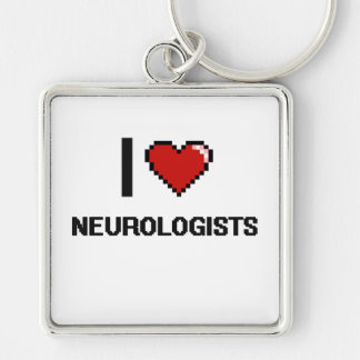 I love Neurologists Silver-Colored Square Keychain