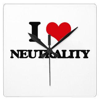 I Love Neutrality Square Wallclock